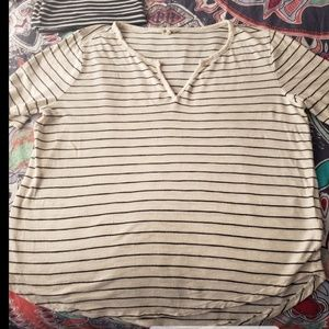 Madewell Stripe Tee-Shirt Black & Cream Large EUC